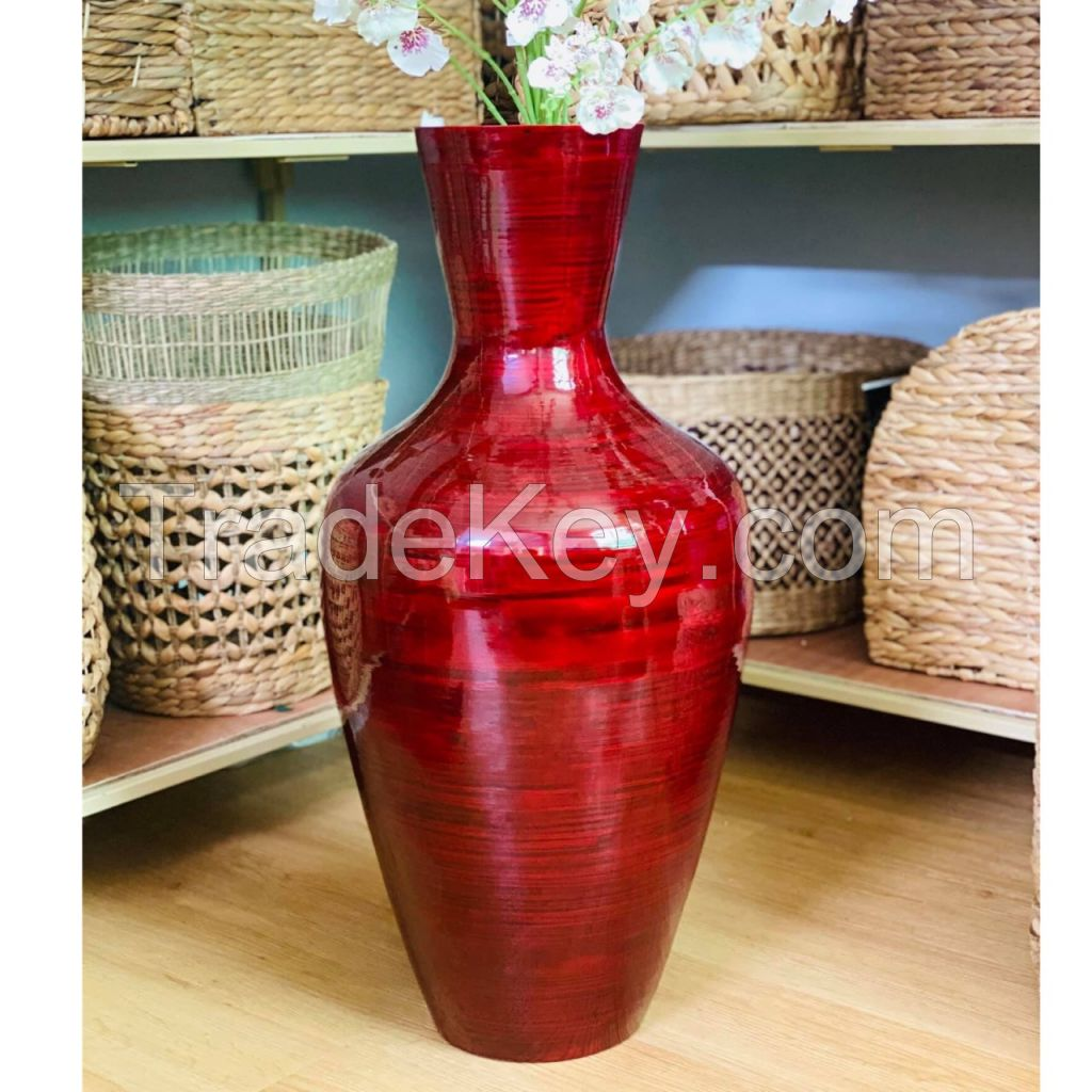 Red tall spun bamboo floor vase
