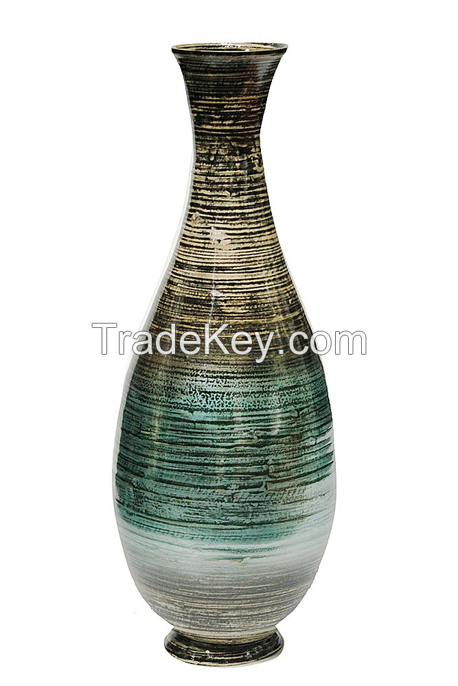 Eco-friendly Lacquer Spun Bamboo Vase Decorating Vase For Wholesale Made In Vietnam