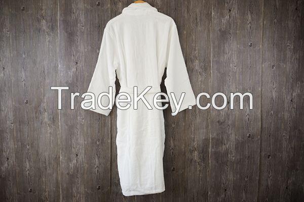 Terry 100% cotton bathrobe shawl collar white long hotel