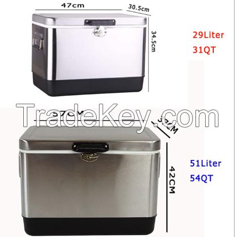 Stainless Steel Vacuum Insulated Hard Cooler 31QT/54QT Cooler Box Custom Logo Beer Box