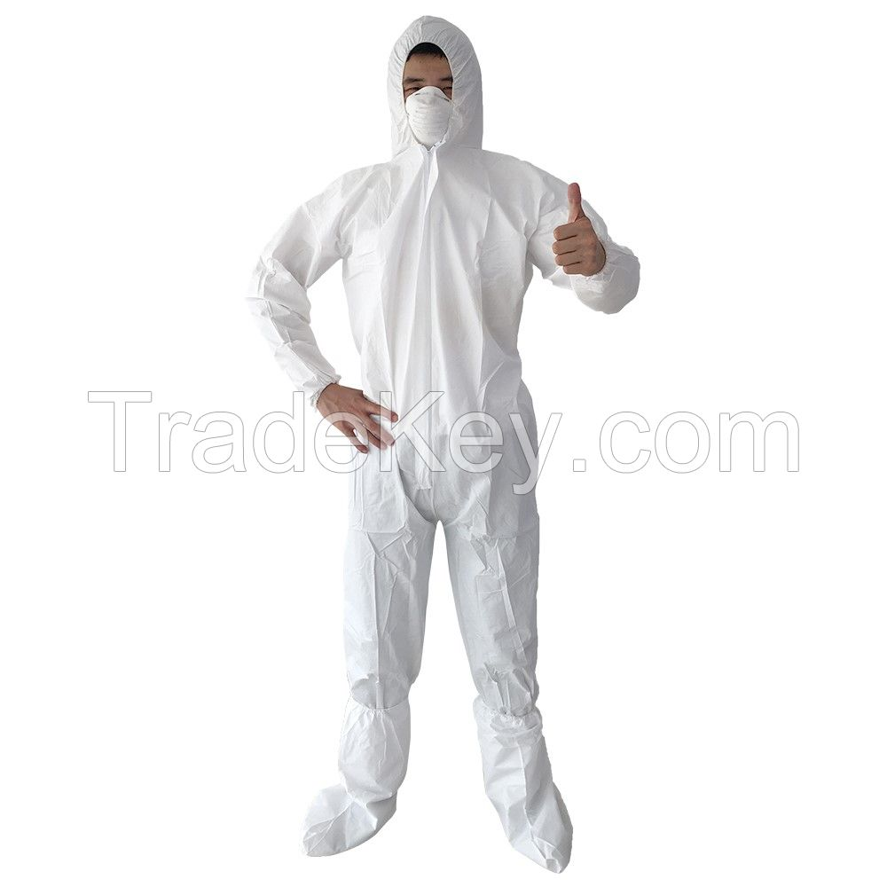 Wholesale Disposable Medical Protective Isolation Coverall  PP+PE Coverall With Tape