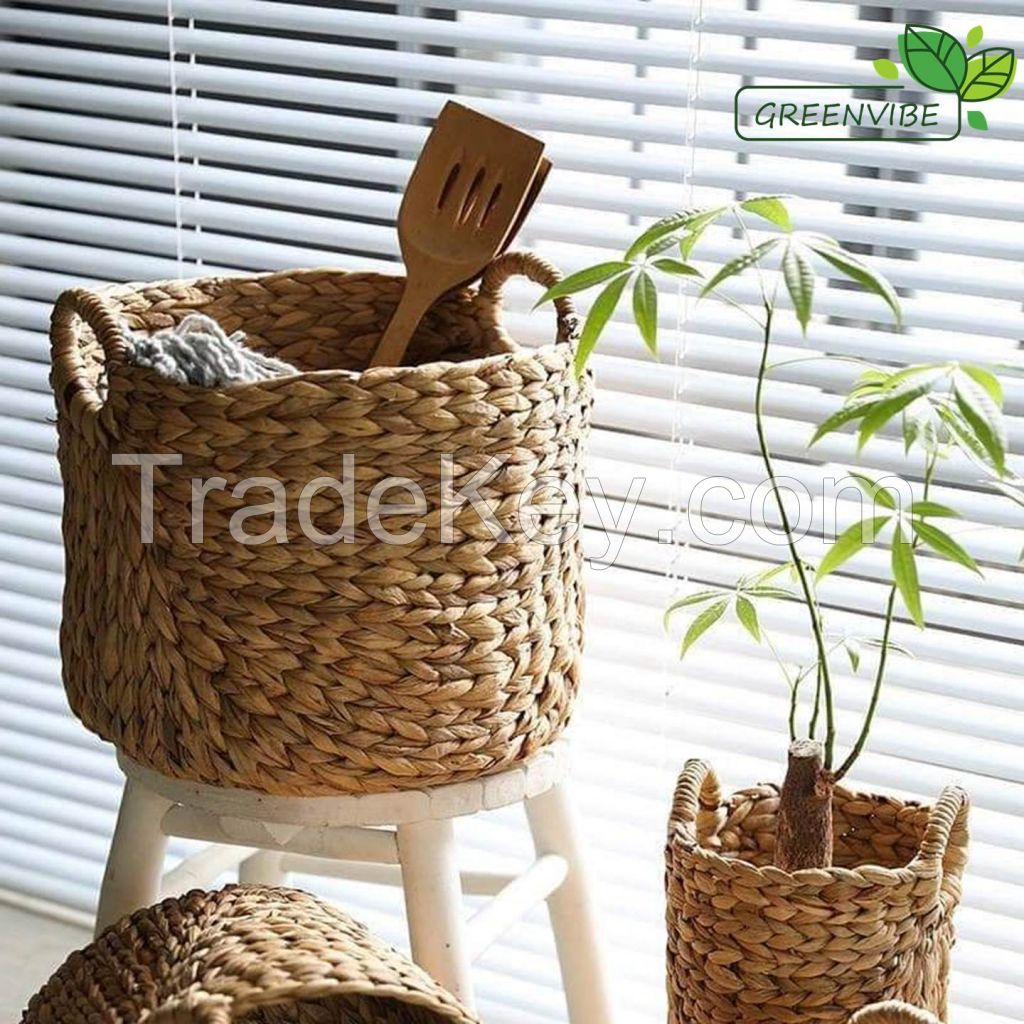 Water Hyacinth Basket, Eco friendly Cabinet Storage Baskets Natural Wicker Basket