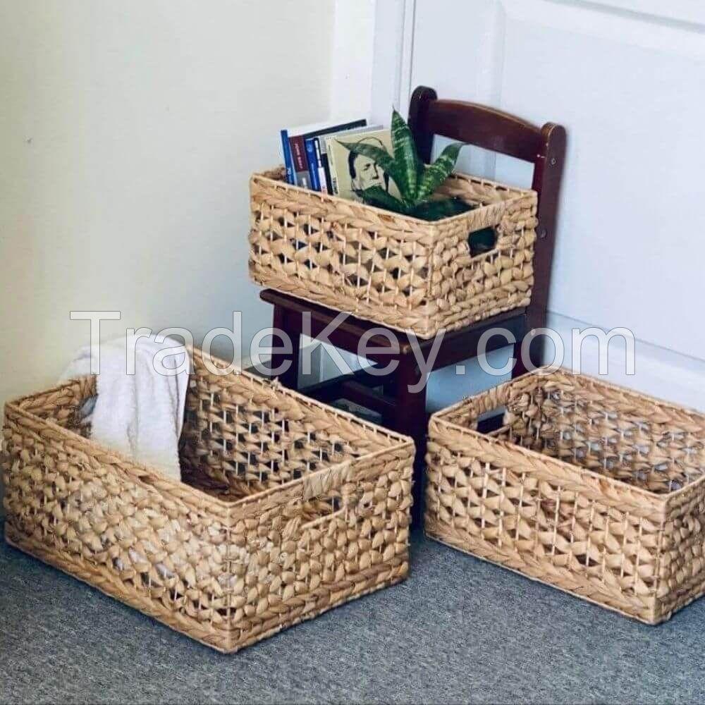 Square Drawer Water Hyacinth Basket, Eco friendly Cabinet Storage Baskets Natural Wicker Basket