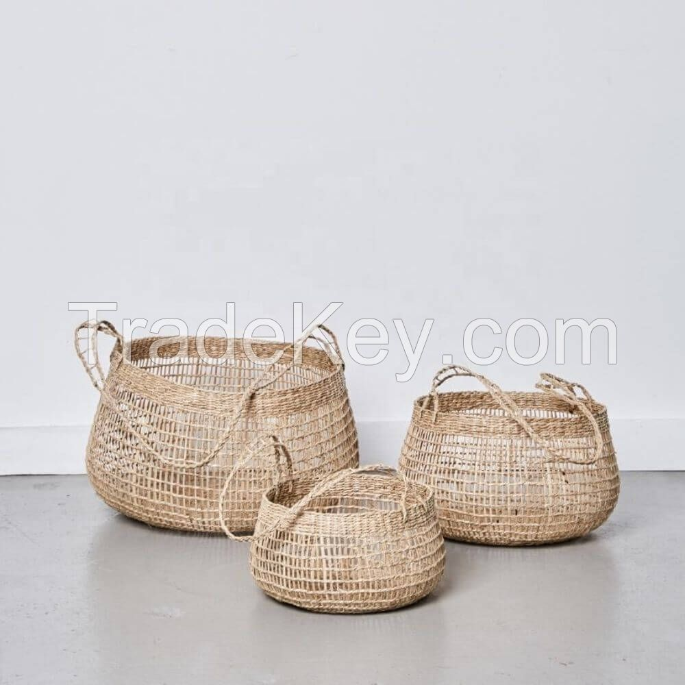 Seagrass Open Weave Storage Basket with Long Handles