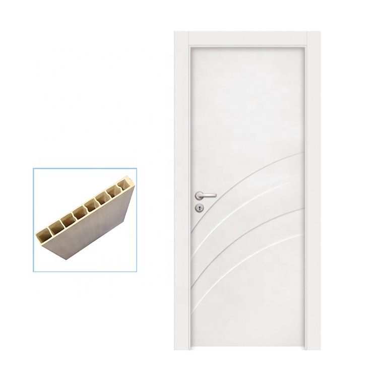 100% waterproof painting full WPC modern bathroom doors with WPC door frame