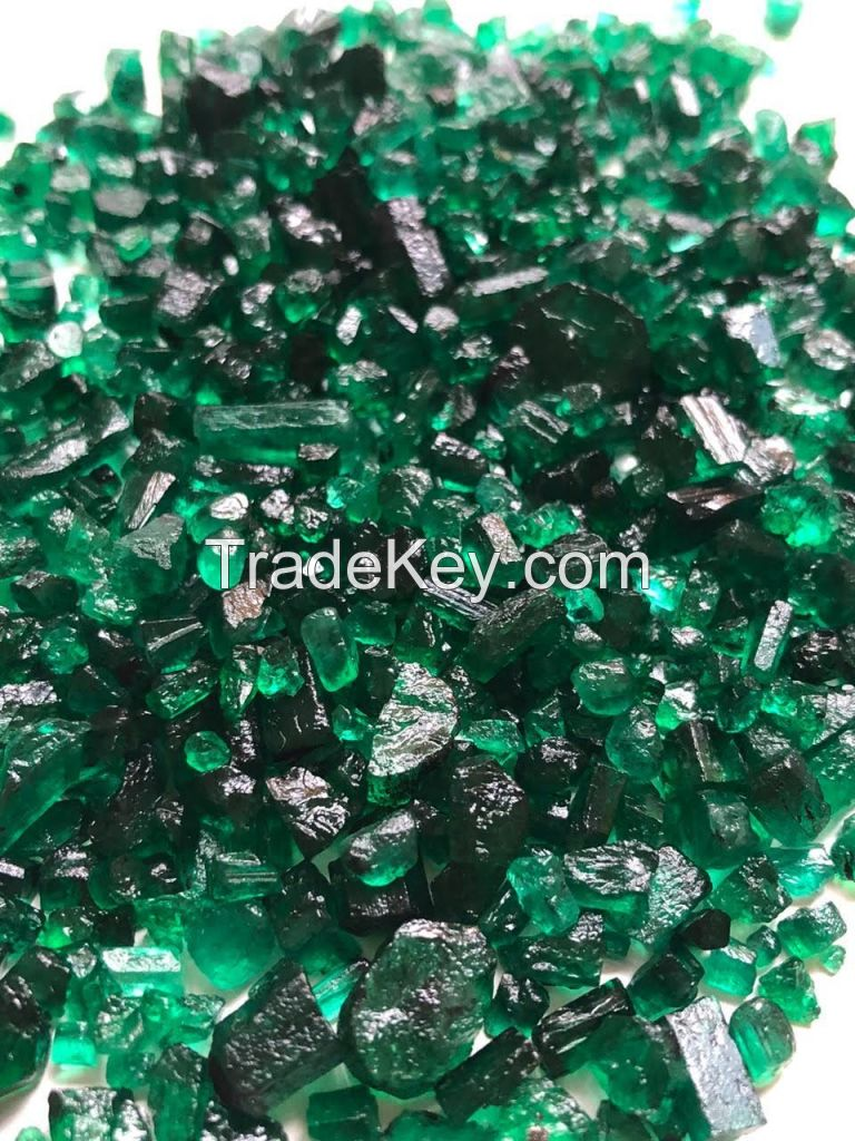 Natural rough emeralds from Brazil