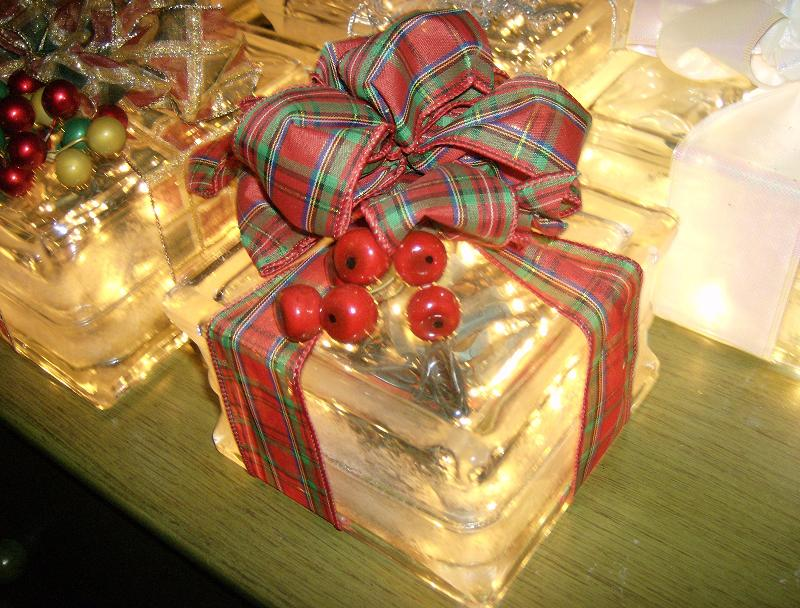 120 V. lighted holiday Glass Blocks (wrapped in your choice of ribbon)