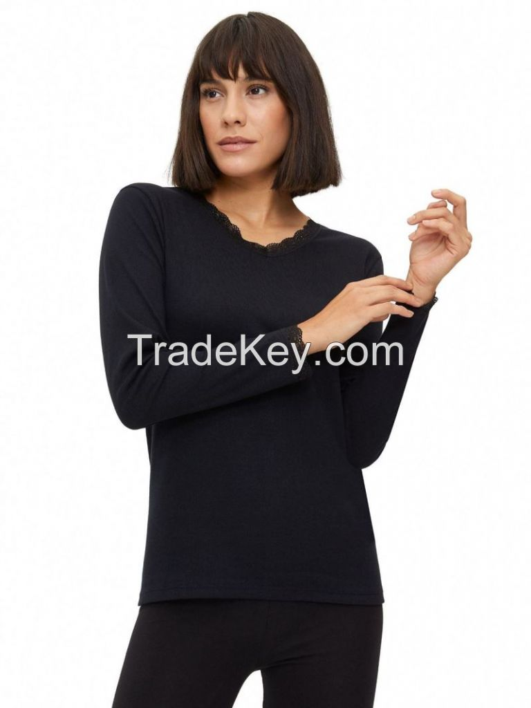 COTTON LACEY COLLAR LONG-SLEEVE FLANNEL