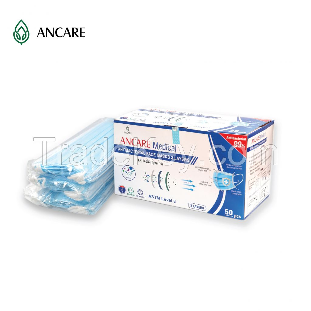 3 PLYS DISPOSABLE FACE MASK - LEVEL 3 ASTM - TYPE IIR (EN 14683) - 99%