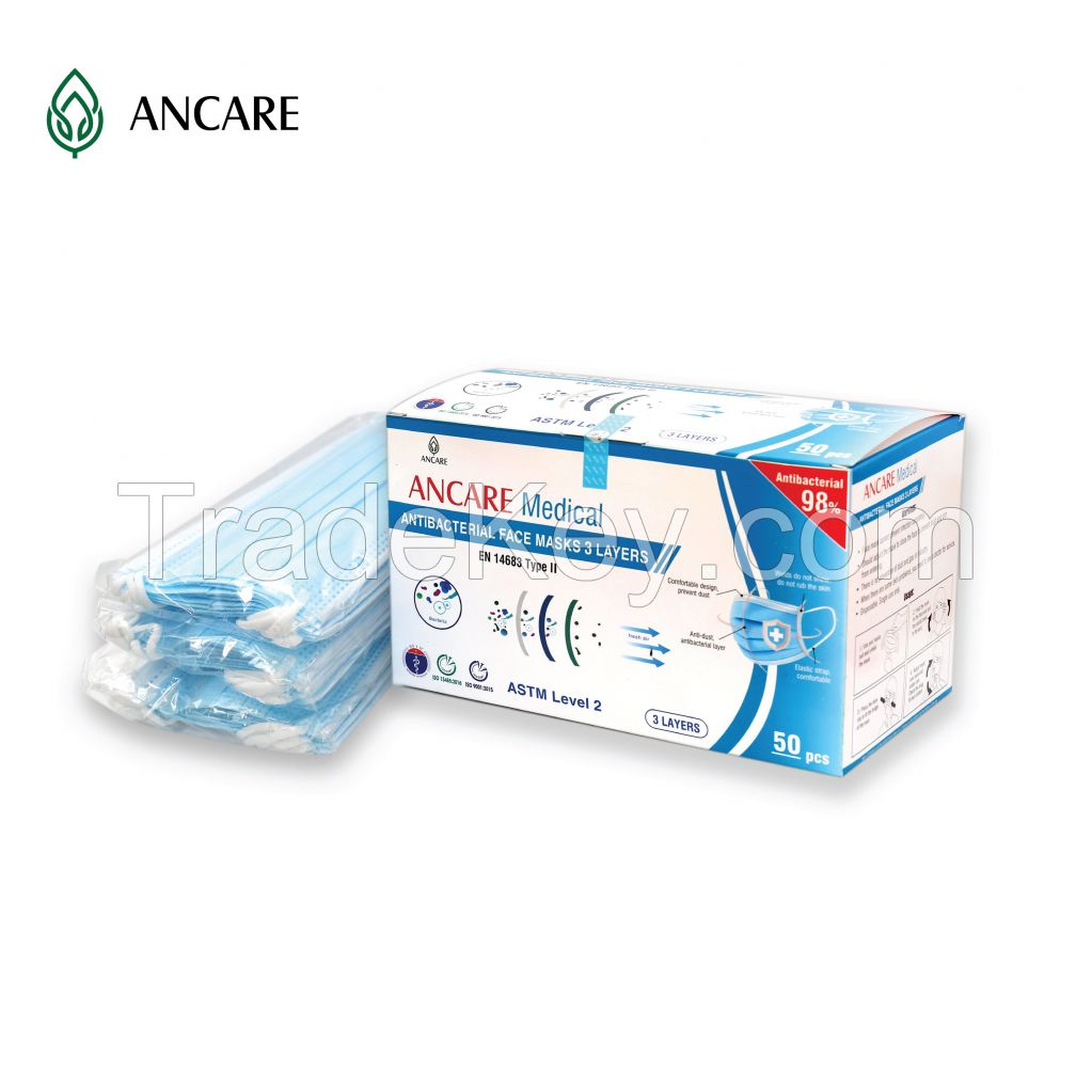 3 PLYS DISPOSABLE FACE MASK - LEVEL 2 ASTM - TYPE II (EN 14683) - 98%