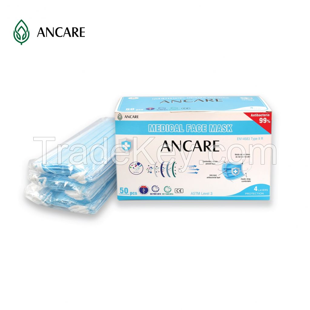 4 PLYS DISPOSABLE FACE MASK - LEVEL 3 ASTM - TYPE IIR (EN 14683) - 99%