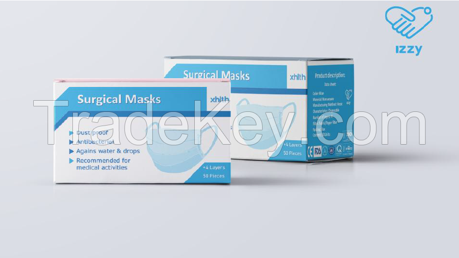 SURGICAL MASK 3 LAYER WITH ANTIBACTERIAL FABRIC/PAPER FILTER PAPER CERTIFICATED