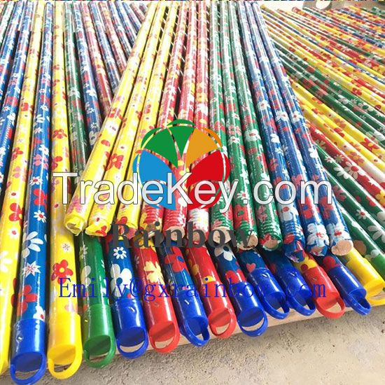 Manufacture Factory PVC coated Wooden Stick With Italian Thread Plastic Broom Handle