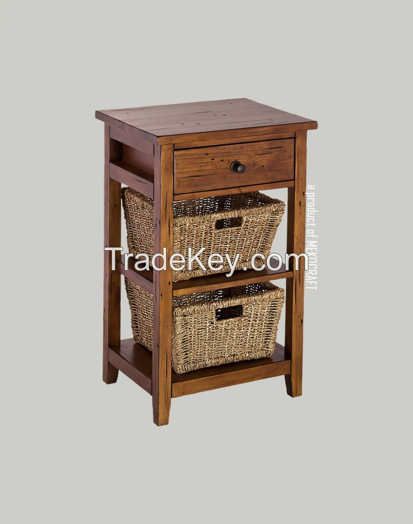 Wooden cabinet with (2) 3 seagrass drawers