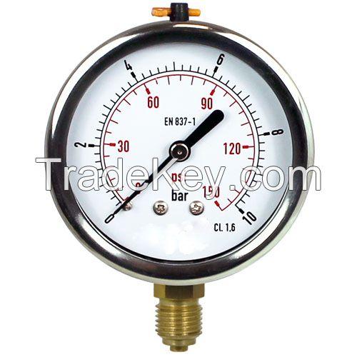 0..16 Bar (0..232 psi) Glycerin Pressure Gauge Rear Stainless steel/Brass 63 mm Class 1.6