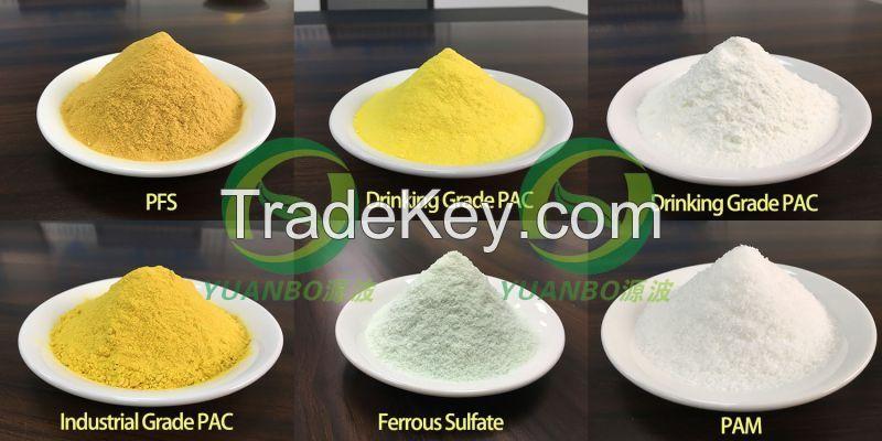 Poly Aluminium Chloride, Poly Ferric Sulfate, Polyacrylamide, ect.