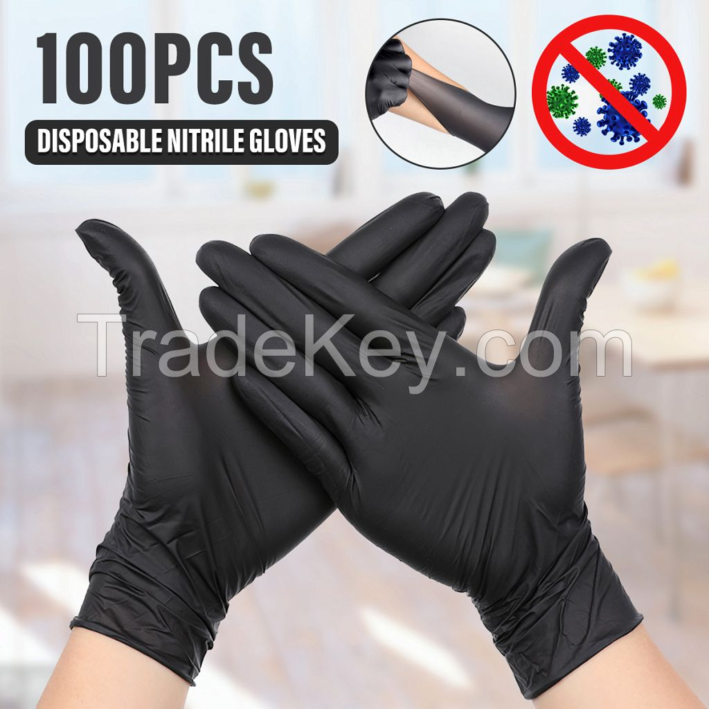 GLOVEWORKS HD Industrial Black Nitrile Gloves with Diamond Grip Box of 100, 6mil, Size Large, Latex, Powder Free, Textured, Disposable