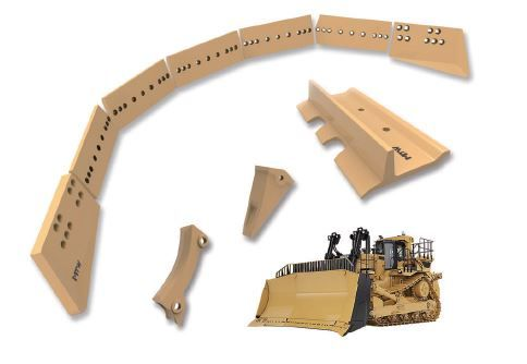 Bulldozer wear parts, including cutting edges and end bits, track shoe pads, ripper tooth