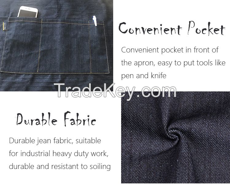 Durable Denim Jeans Apron with Custom Logo for Garden Cleaning