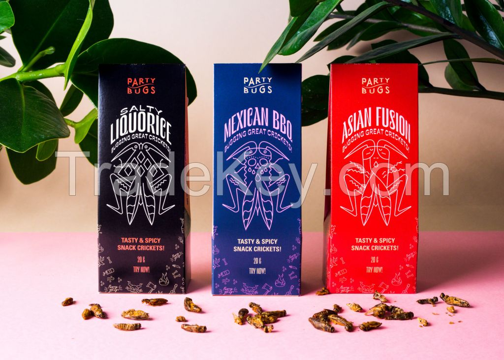 Party Bugs - Mexican BBQ - Party snacks made from edible insects. - Roasted Crickets