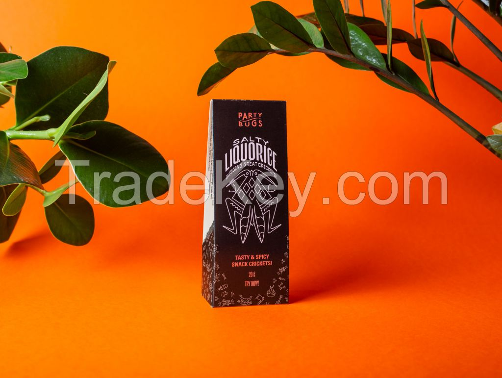 Party Bugs - Salty Liquorice - Party snacks made from edible insects. - Roasted Crickets
