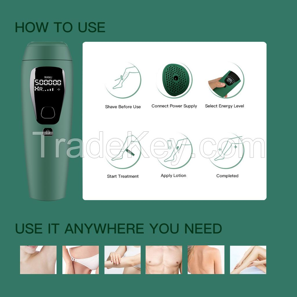 Home Use IPL Hair Removal 500,000 Flashes for Men and Women with Replacement Cartridge