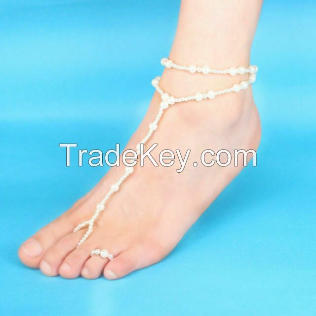 Pearl Barefoot Sandal Anklet Foot Chain Beach Ankle Toe Ring Bracelet for Women