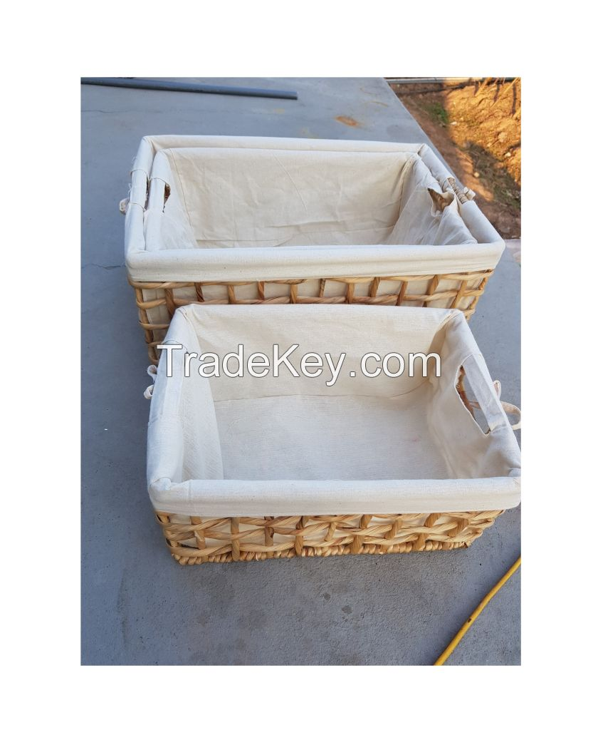 HAND WEAVING SEAGRASS STORAGE BOX AND NATURAL WATER HYACINTH BASKETS
