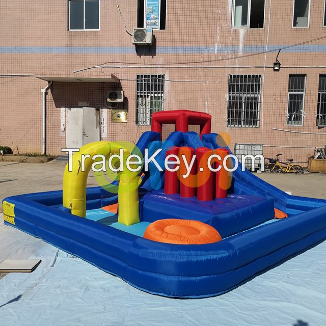 Inflatable Kids Toy Water Jumping Slide Water Park With Splash Pool