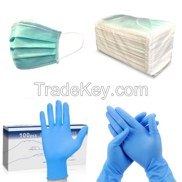 Disposable Blue Nitrile Gloves Powder Free for Medical Use
