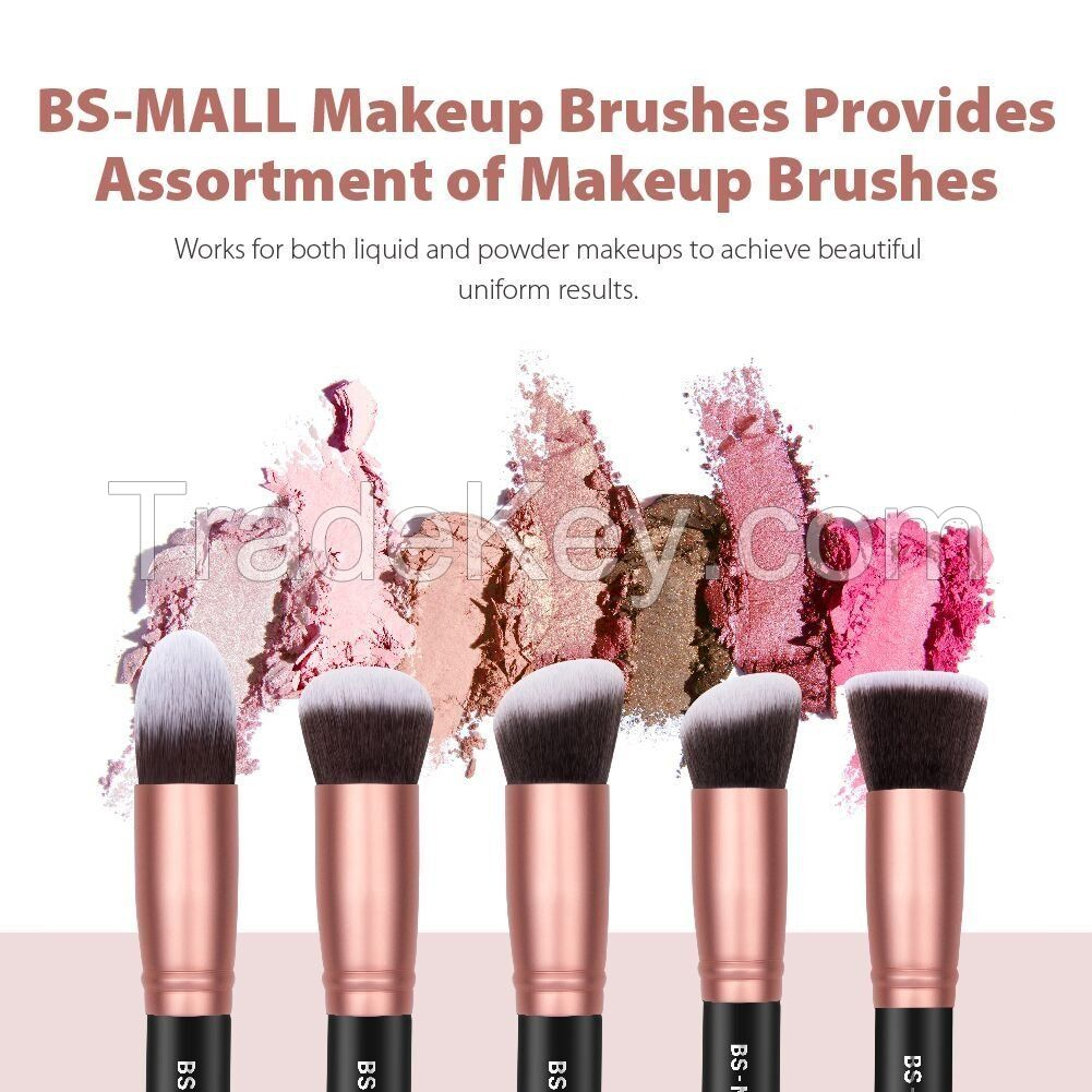 BS-MALL Makeup Brushes Premium Synthetic Foundation Powder Concealers Eye Shadows Makeup 14 Pcs Brush Set, Rose Golden