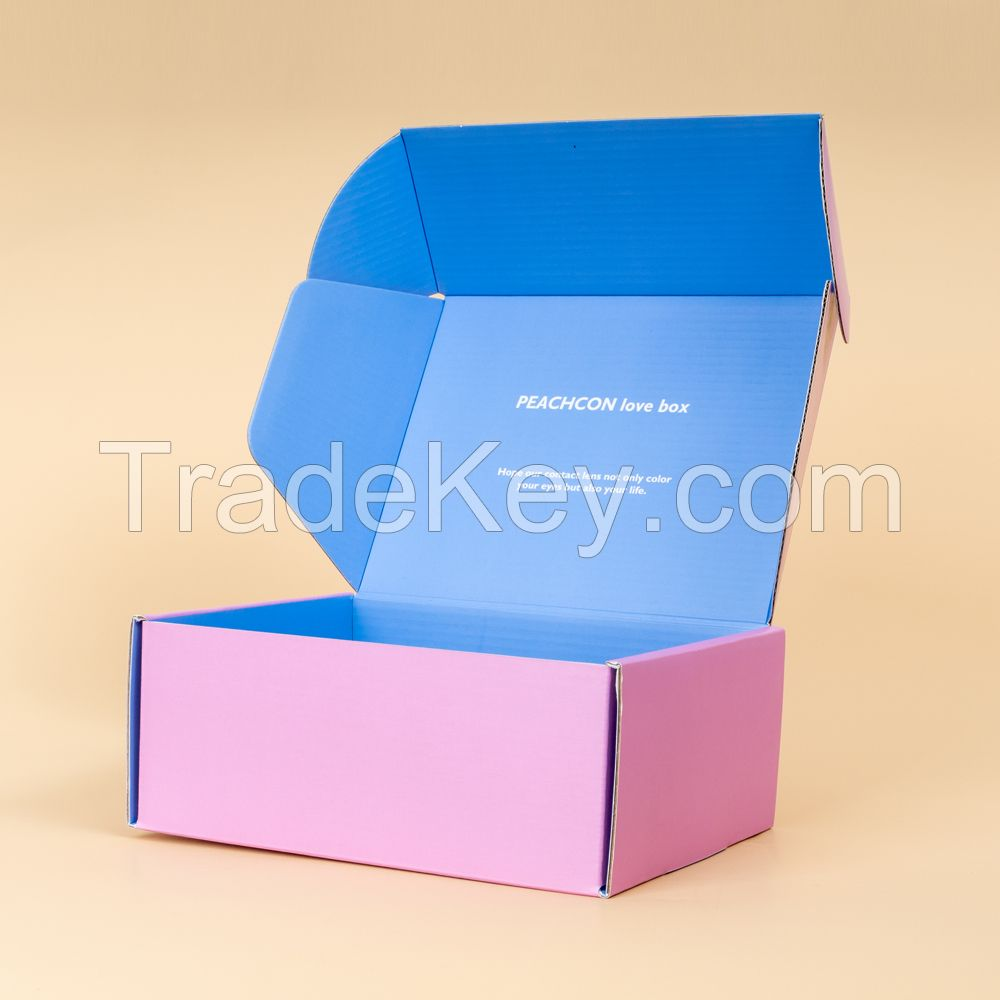 Custom pink cardboard corrugated shipping carton box with custom logo strong tuck top mailer carton box