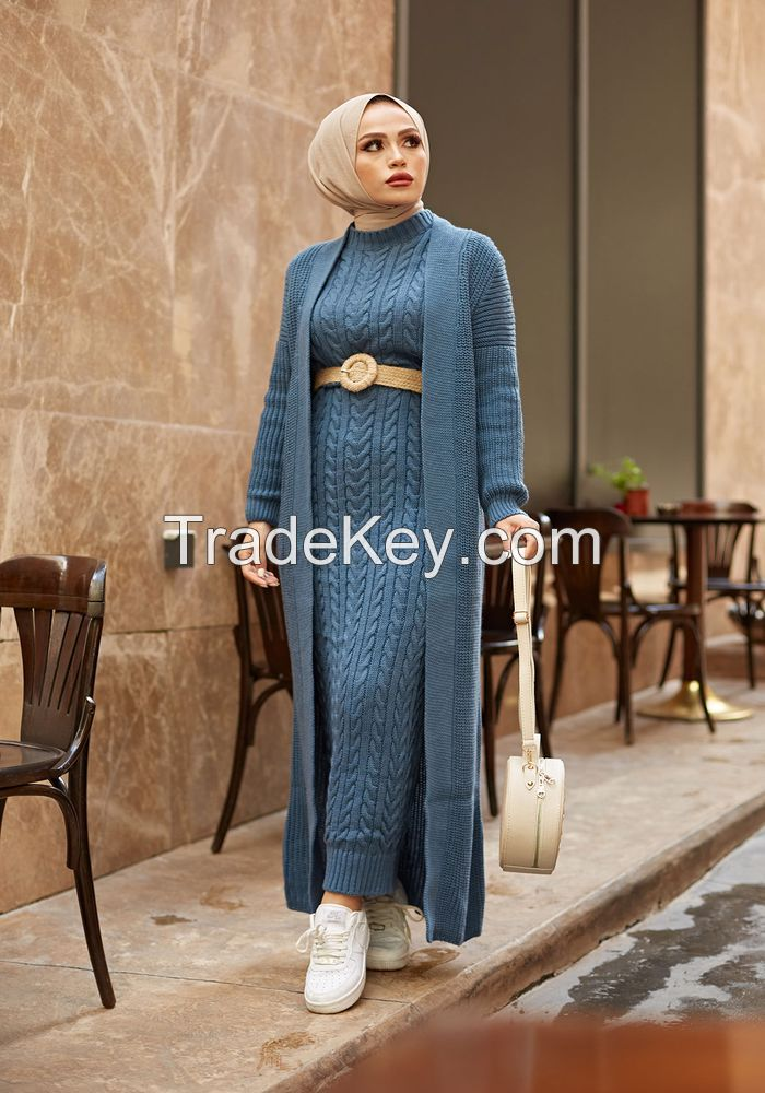 2 Pieces Woman Dress Knitted Suit, Long Cardigan and Maxi dress Muslim Fashion Islamic Winter Clothing Turkey