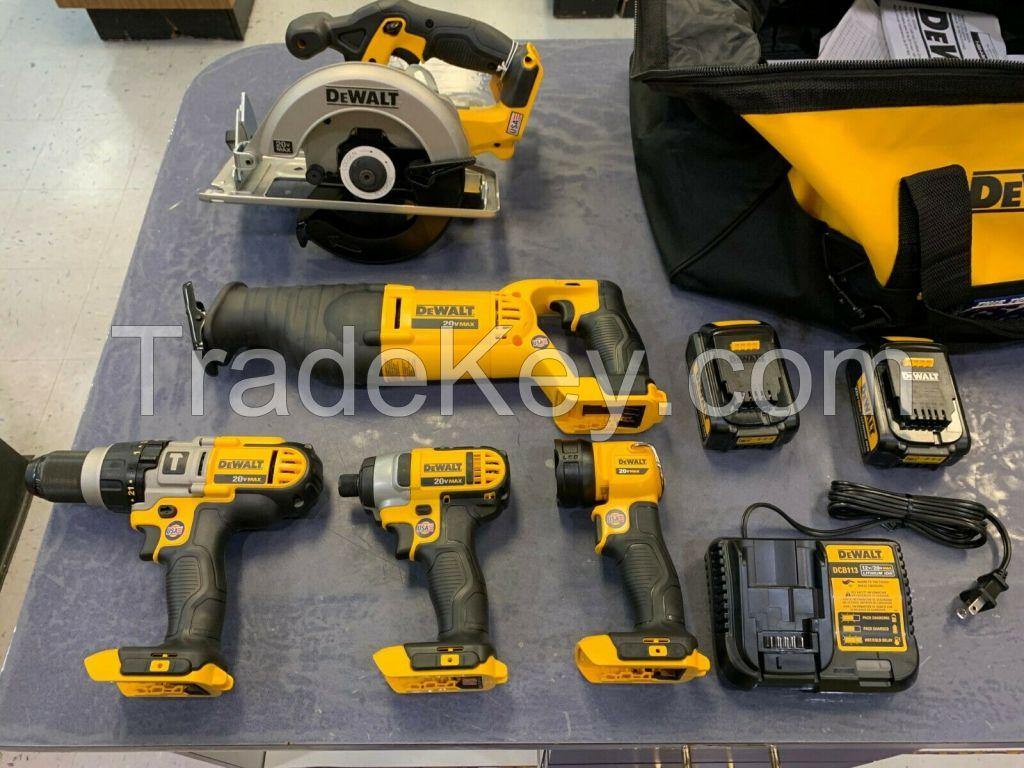 For New DEWALT 20V 20 Volt XR Drill, recip, flashlight , battery set