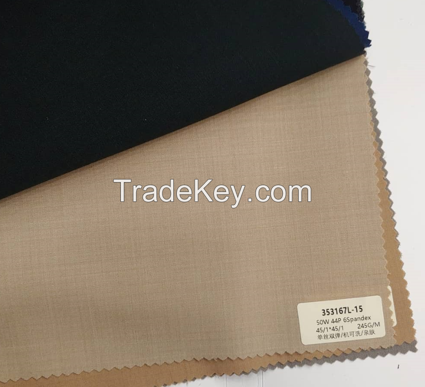 High quality wool/polyster/spandex mixed fabric for suits