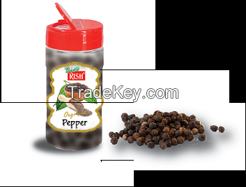 Organic Black Pepper whole of powdered - in consumer packs - PET bottles