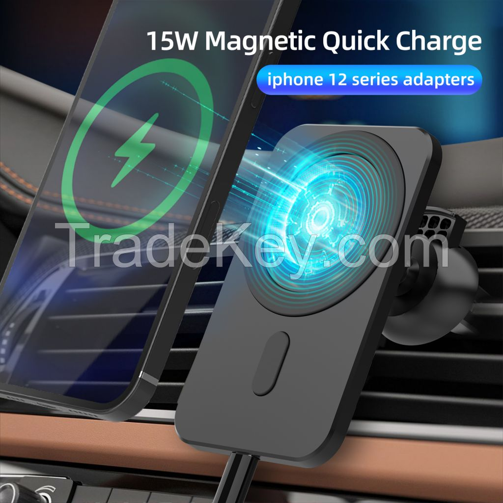 15W Magnetic Qi Wireless Car Charger Automatic Clamping for iPhone 12 Pro  Air Vent Mount Phone Holder
