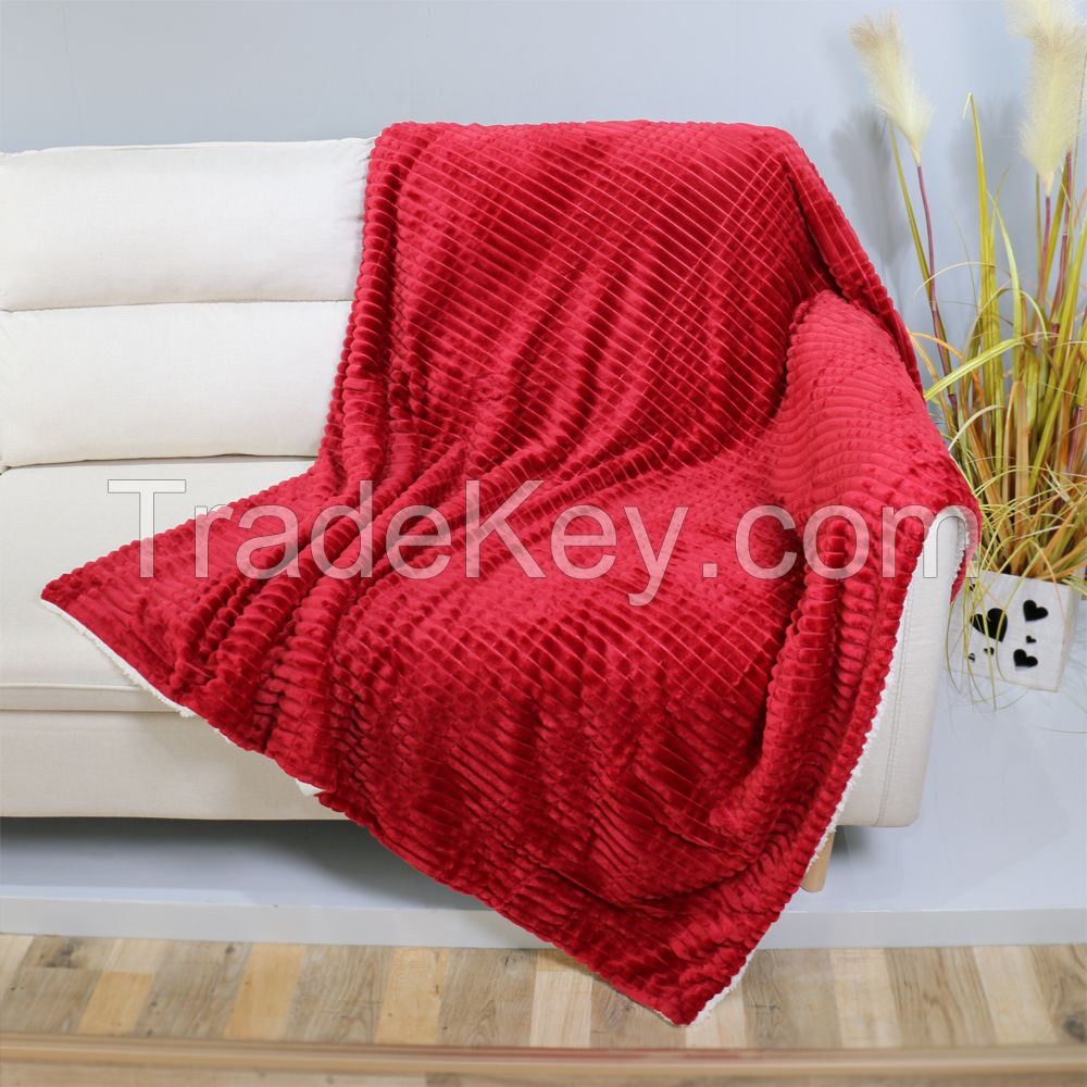 Jacquard and cutting flannel blanket with white sherpa back throw blanket