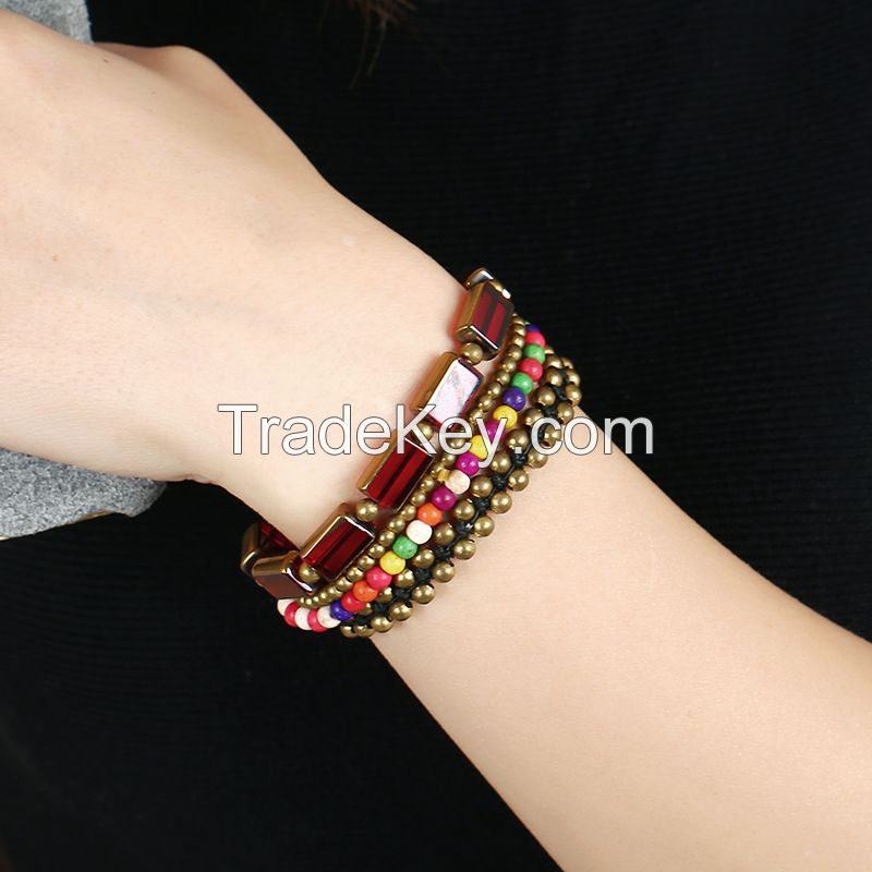 Red agate BOHO handmade braiding bracele