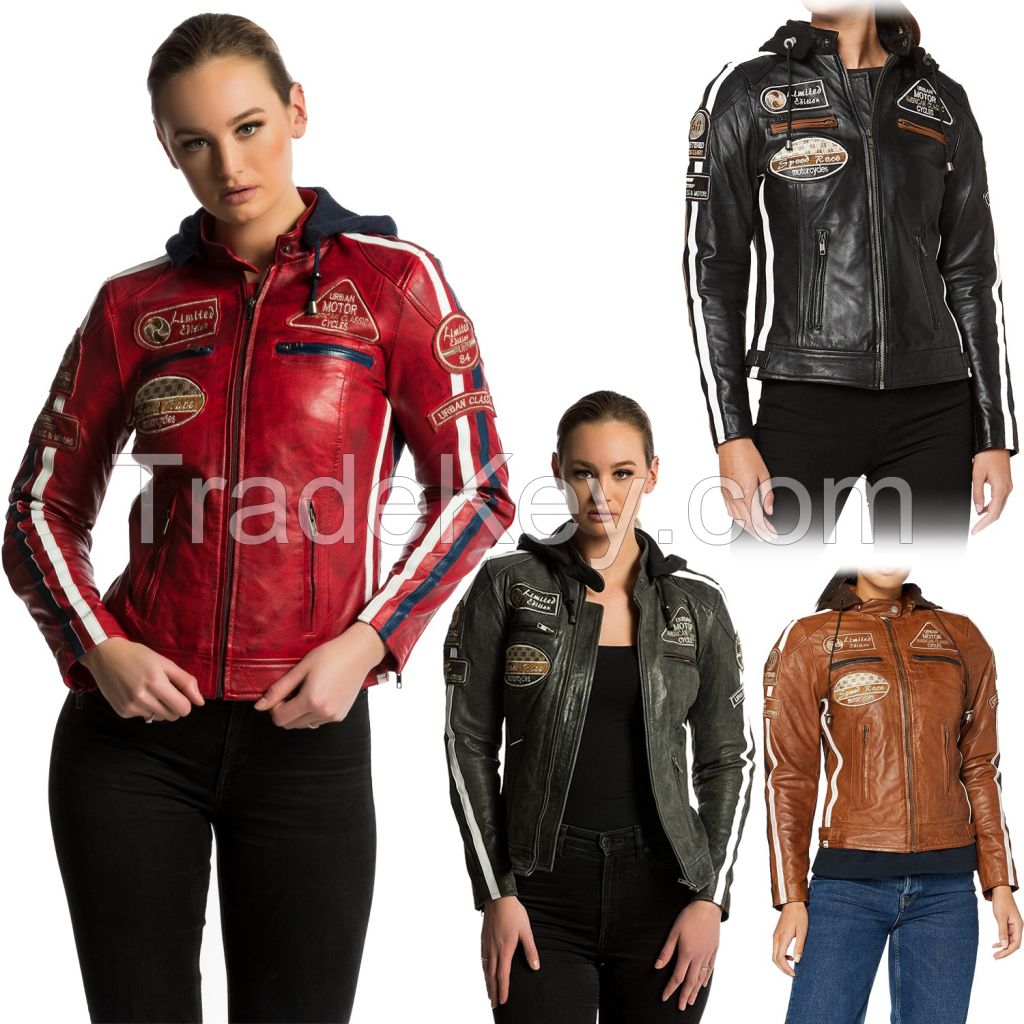 Women's Leather Motorcycle Jacket Slim Fit Lapel Zip Up Short   Lambskin Biker Jacket   CE Approved Removable Armour for Back, Shoulders and Elbows