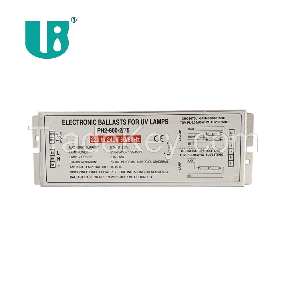 PH2-800-2/75 uvc light ac high output 800mA electronic ballast for gho36t5l tuv75w 87w 95w 150w ultraviolet germicidl lamp