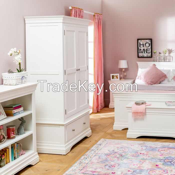 Double Wardrobe With Drawers, Acacia Solid Wood Painter White Color