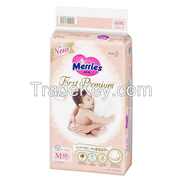 Fine absorbent cashmere touch baby diaper Meriies First Premium various sizes