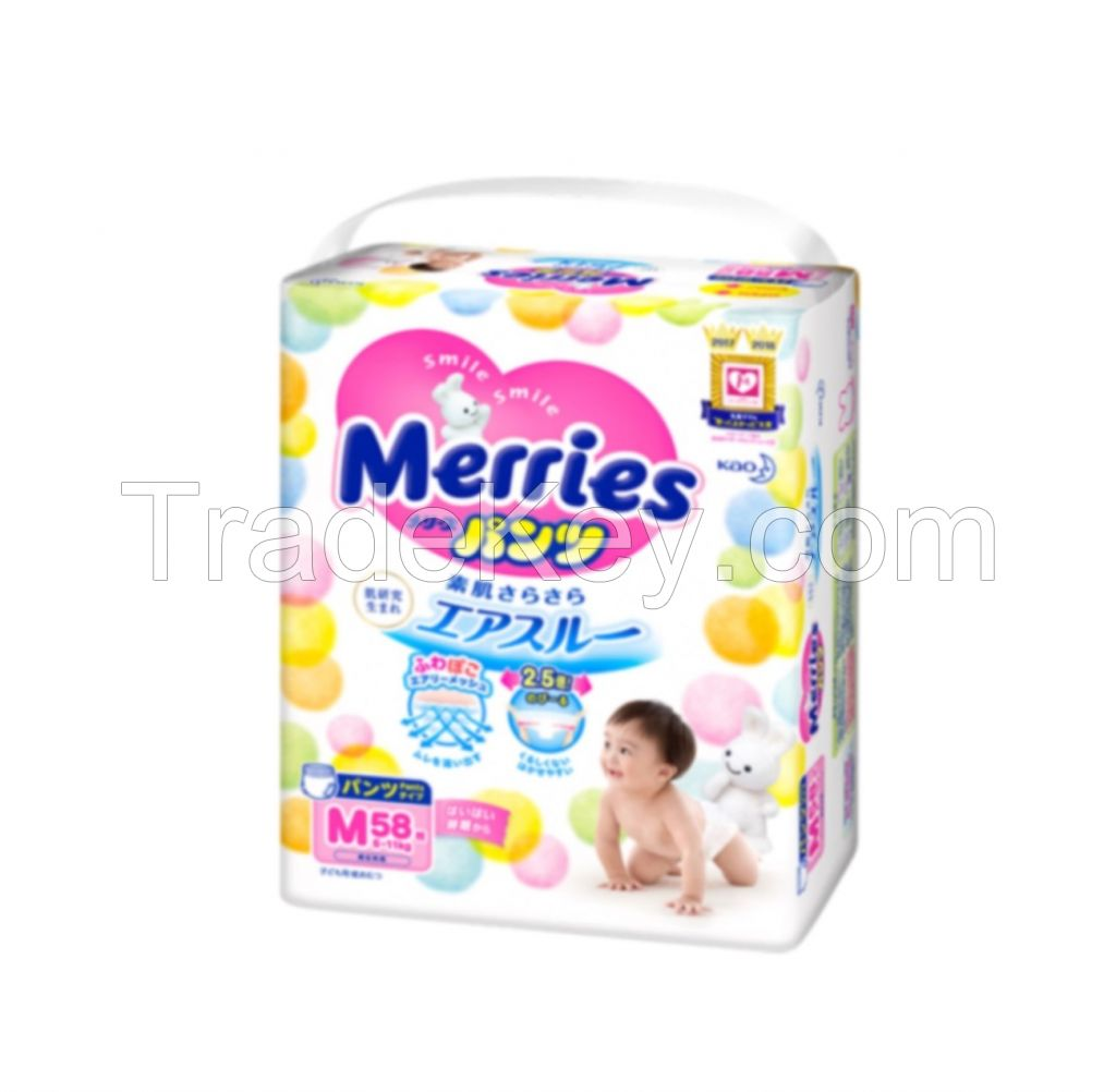 Merries Japanese good breathability disposable baby diaper pants brands