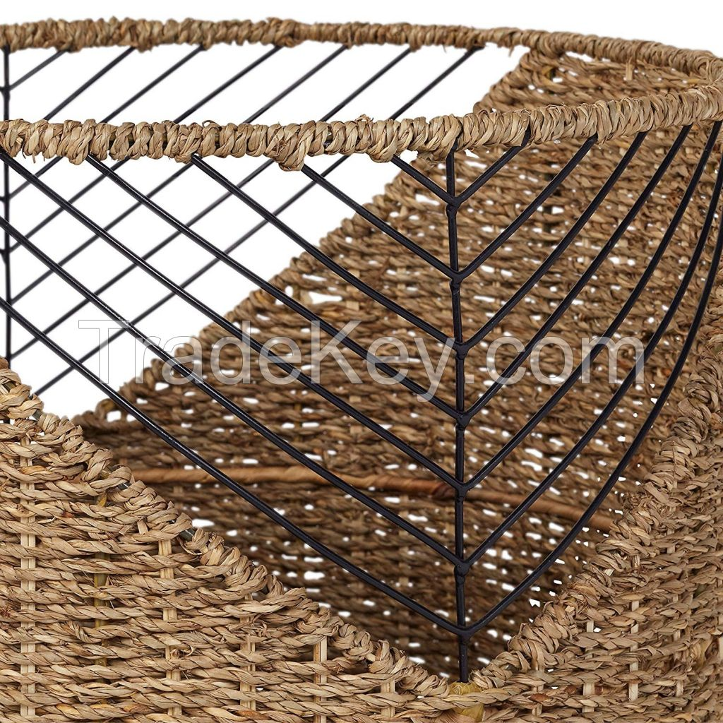 Hot Trending Vietnam Handmade Non-toxic Seagrass Storage Baskets Laundry Basket for Home Decor