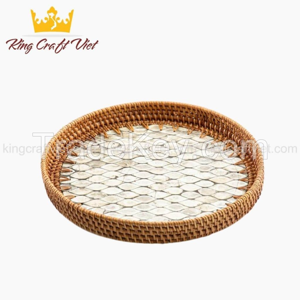 Vietnam Hot Item Eco-friendly Rustic Decor Round Serving Tray Mother Of Pearl Rattan Tray 2021