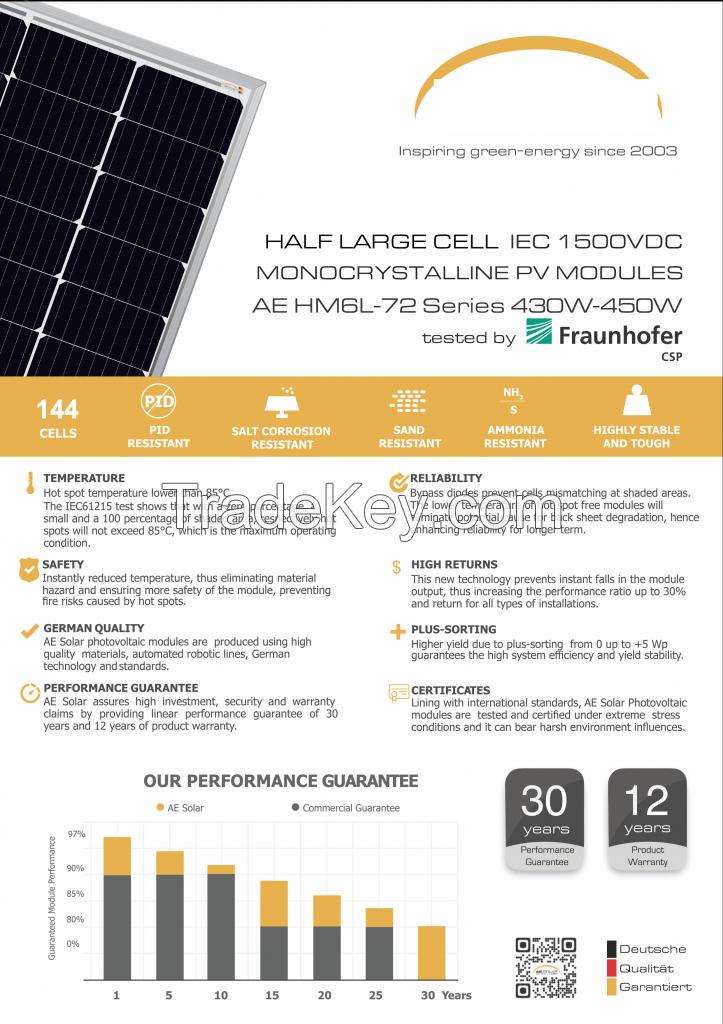 430W-450W HM6L-72 mono-crystalline solar panel