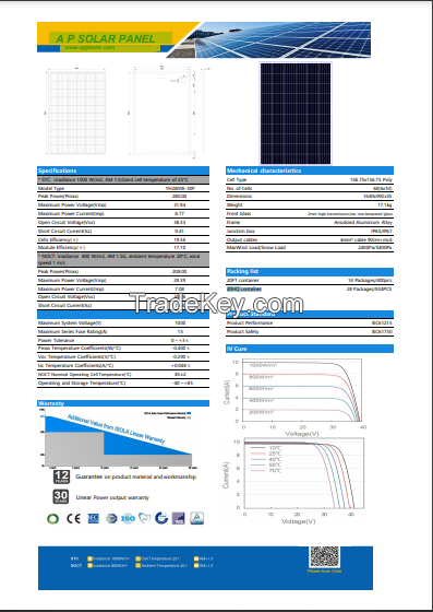 AP-280-30P Polycrystalline Silicon Solar Panel