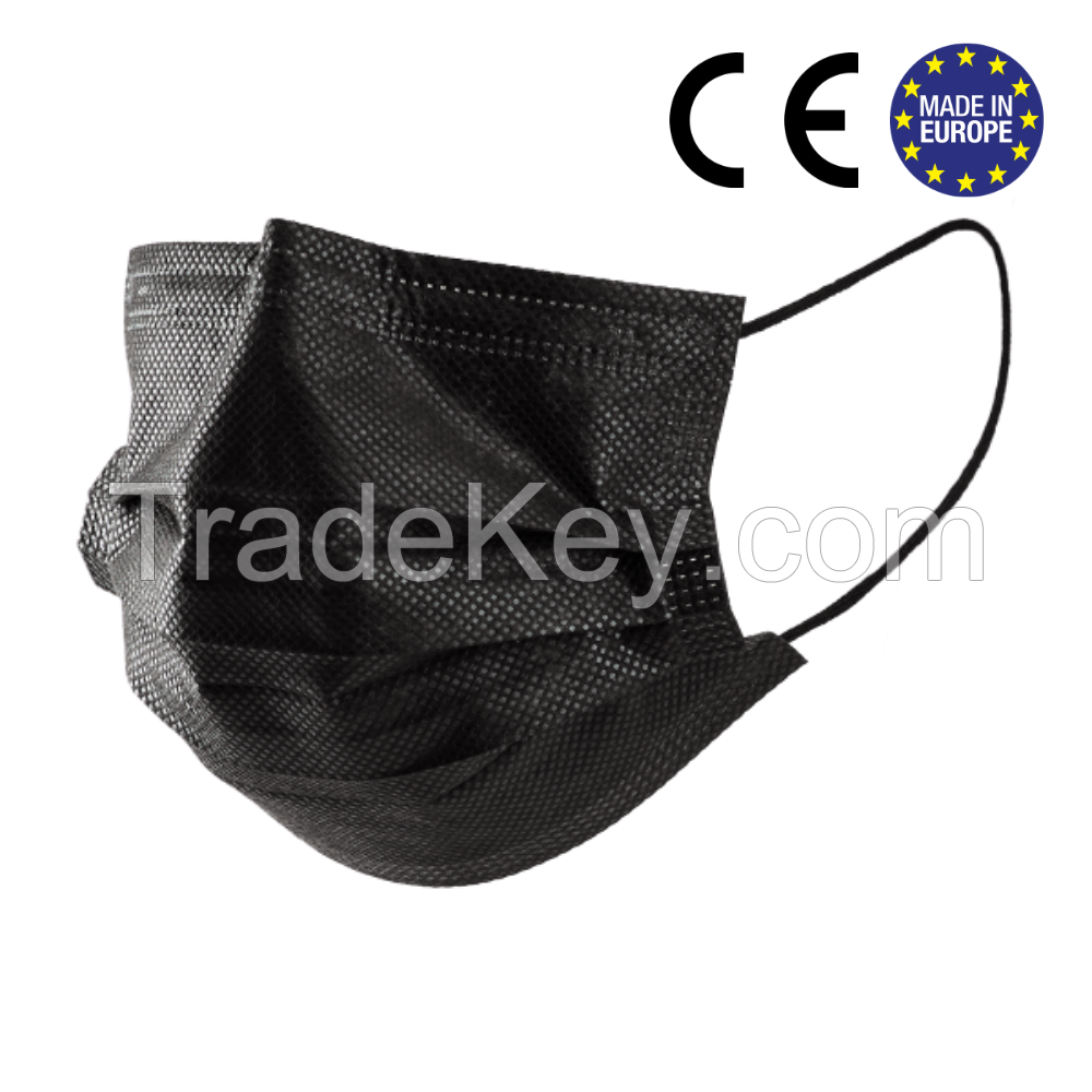 Medical 3 ply masks. BLACK. These are strongly certified by EU.