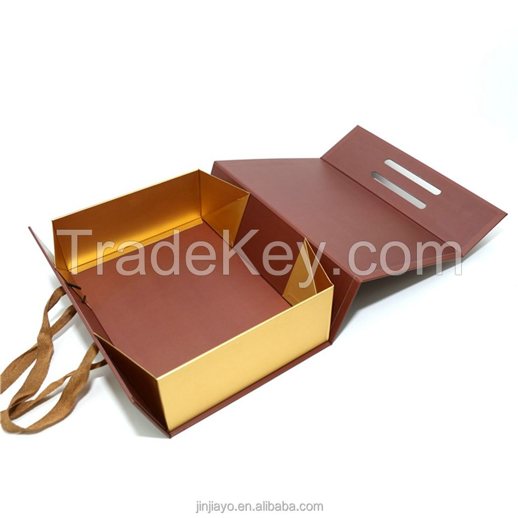 Folded Rigid Box for Jewelry with Ribbon Bow Shipping Mailer Clothing Shoes Luxury Packaging Custom Logo Eco Friendly